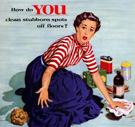 Housewife Meme - 1950s 50s advertising blue cleaning housewife image