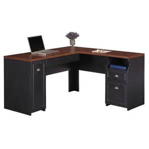 fairview l shaped wood computer desk in black wc53930 03k