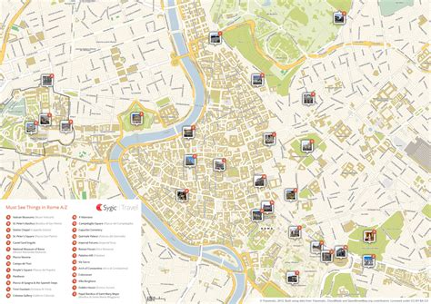 sightseeing map of rome printable tourist map sygic travel