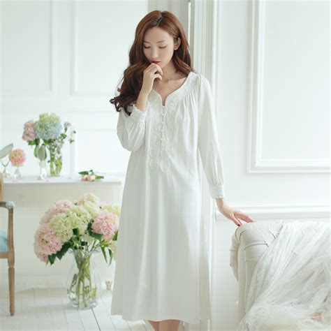 Pajama Sleeve Dress womens vintage sleeve white sleepwear retro dress
