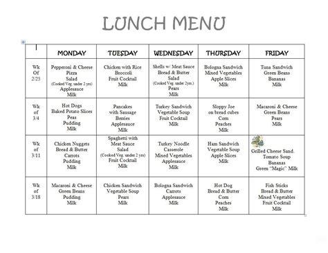 Free Daycare Menus To Print 8 Best Images Of Printable Preschool Lunch Menu Lil Meals Daycare Menu Template