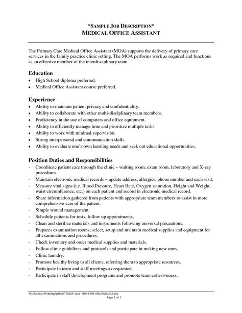 Resume Exles Descriptions office assistant description resume 2016