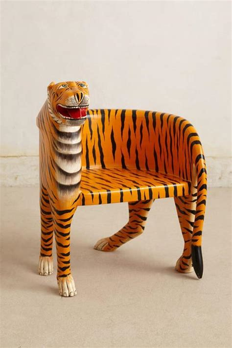 tiger chair orange handcarved bengal tiger chair