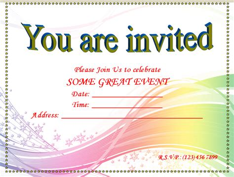 microsoft word birthday card invitation template blank invitation templates for microsoft word