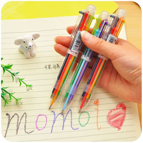 Korean Stationery Kawai Color Pen Pulpen Gel aliexpress buy creative 6 colors plastic ballpoint pen lovely kawaii pens for