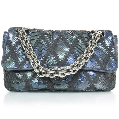 Chanel Crochet Stitched Python Flap Bag chanel python crochet stitched jumbo flap blue 22196