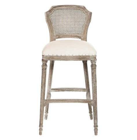 cane bar stool camilla french country washed taupe linen barstools set