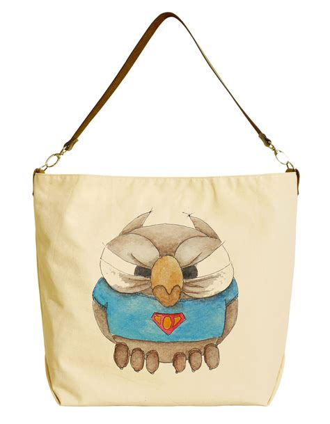 Tote Bag 29 painted owl printed canvas tote bag with leather
