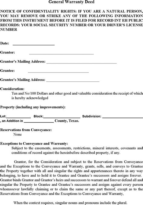 download texas general warranty deed for free tidyform