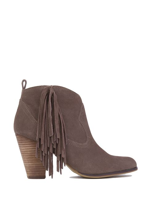 steve madden ohio side fringe ankle boots taupe suede in