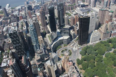 aerial view of columbus circle and central park