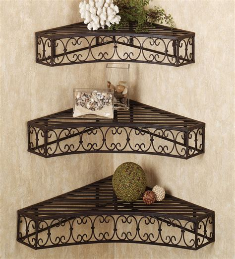 decorative iron shelves set of 3 by metal style