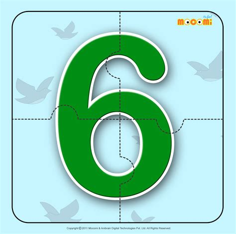 printable number jigsaw puzzles number six 6 number jigzaw puzzles for kids mocomi