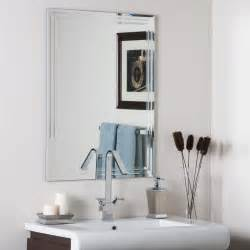 frameless mirrors for bathroom decor frameless tri bevel wall mirror beyond