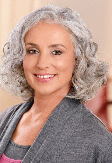 Hairstyle For Gray Thin Wavy Hair | medium length hairstyles for thin gray hair curly gray