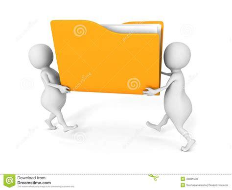 Deux Personnes Portent Le Dossier De Fichier Papier Jaune Le De Bureau Jaune