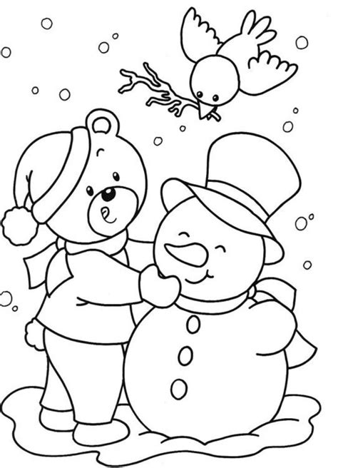 winter coloring pages free large images snowman winter free christmas coloring pages for kids