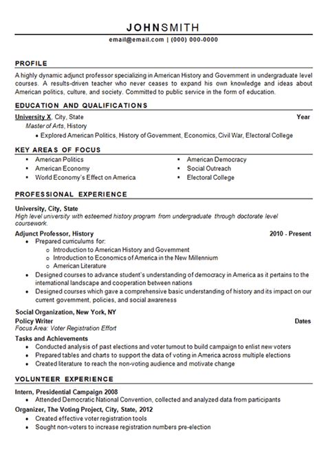 History Resume by Adjunct Professor Resume Exle History And Politics