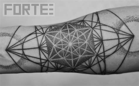geometric tattoo cube sacred geometry dotwork tattoo on shoulder