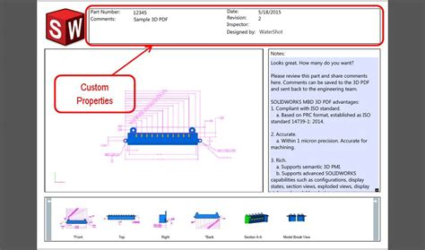 Creating Custom 3d Pdf Templates In Solidworks Mbd The Solidapps Blog Solidworks 3d Pdf Template
