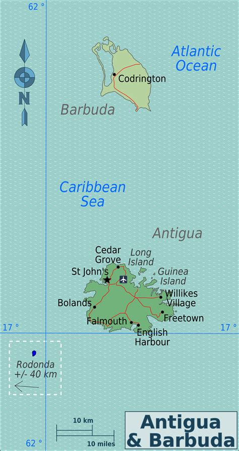 printable road map of antigua political and road map of antigua and barbuda antigua and