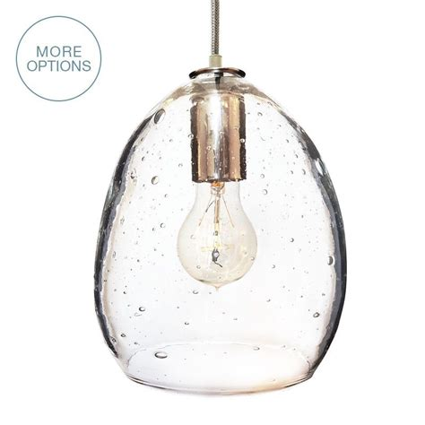 Hand Blown Modern Orb Glass Egg Seeded Glass Pendant Light Glass Pendants Lighting