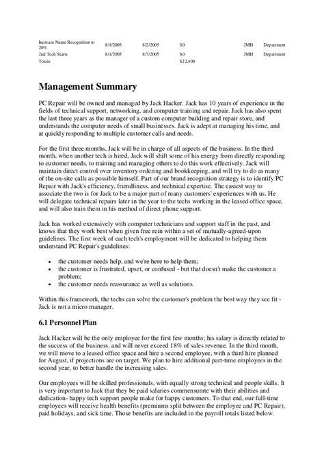 sle business plan of computer shop business plan computer repair