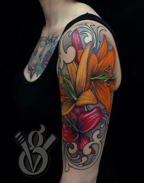tattoo girl color lilies arm sleeve tattoo girl woman female flower color