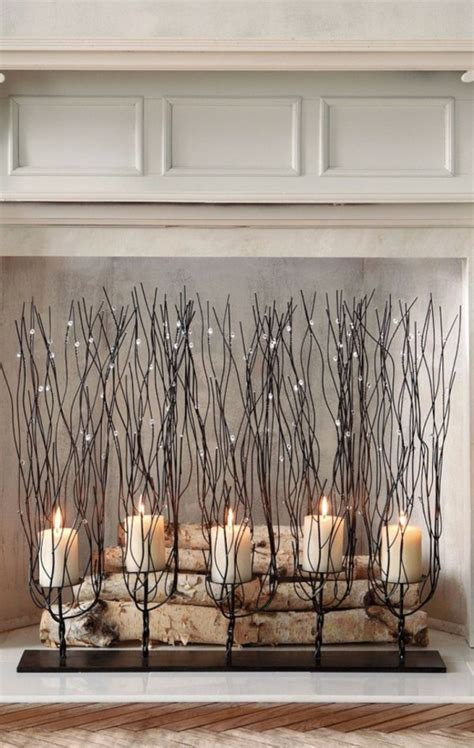 decorative fireplace mood with candles and