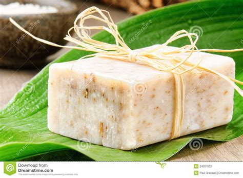 By Nature Handmade Soap - handmade soap on a green leaf stock photo image