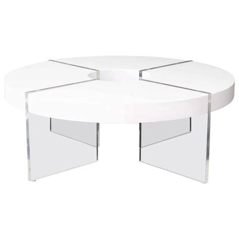 circle white lacquer lucite coffee table for sale at