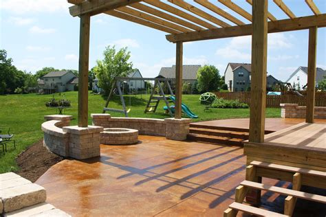 patio pergola concrete patio seating acid stained concrete patio