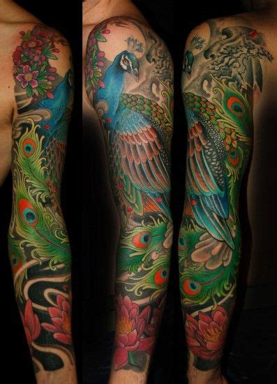 peacock tattoo quarter sleeve the depth and vibrance of the colours is gorgeous the