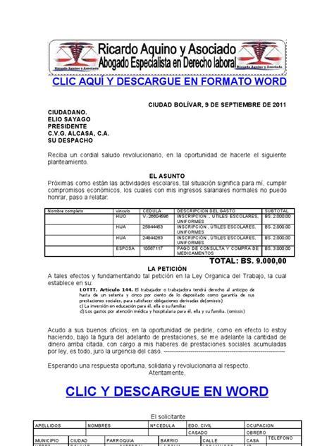 Formato Modelo Ejemplo Solicitud De Adelanto De Scribd | formato modelo ejemplo solicitud de adelanto de prestaciones