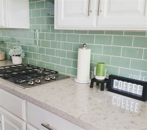 green kitchen backsplash best 25 green subway tile ideas on glass tile