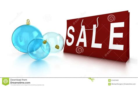 christmas sale with baubles and bag stock photo image