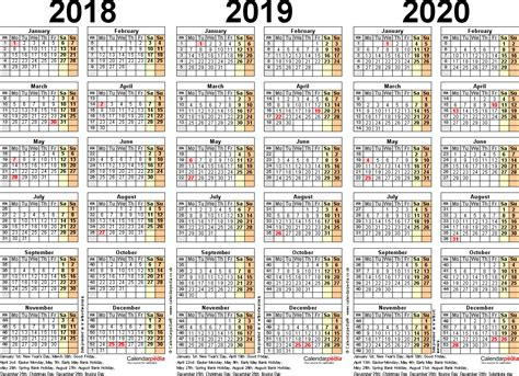 10 year calendar template three year calendars for 2018 2019 2020 uk for pdf