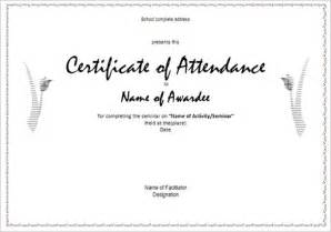 Certification Letter For Attendance printable attendance certificates blank certificates