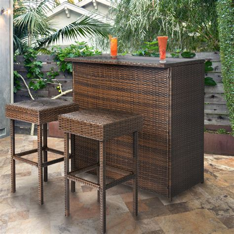 Outdoor Patio Furniture Bar Sets 3pc Wicker Bar Set Patio Outdoor Backyard Table 2 Stools Rattan Furniture Ebay