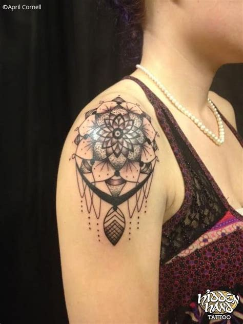 mandala shoulder tattoo 50 dreamcatcher tattoos on shoulder