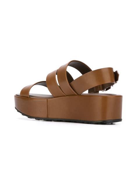 flat platform shoes tod s flat platform sandals in brown lyst
