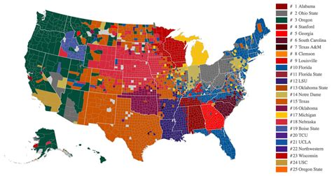 college map the united states of college football benchwarmer sports
