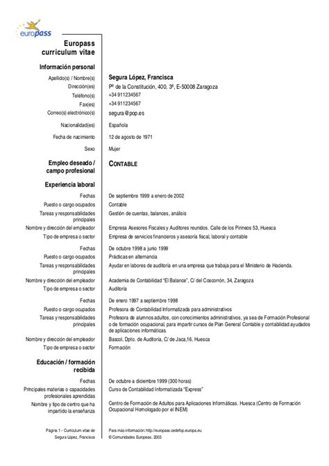 Modelo Curriculum Vitae Europeo Descargar Word Europass