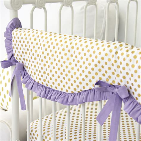 purple and gold bedding purple and gold dot ruffle crib bedding set by caden lane