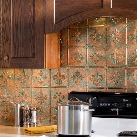 copper backsplash kitchen fasade backsplash fleur de lis in copper fantasy for