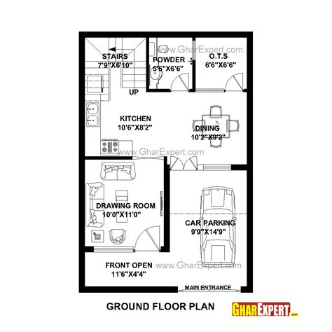 100 Gaj Sq Ft house plan for 22 feet by 33 feet plot plot size 81