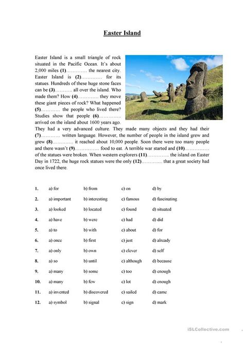 reading comprehension test adults easter island worksheet free esl printable worksheets