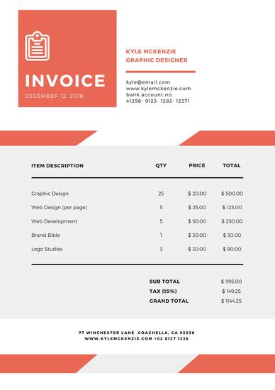 Customize 203 Invoice Templates Online Canva Invoice For Design Work Template