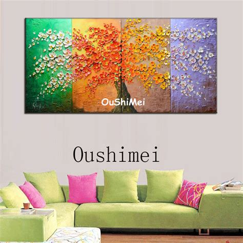 tree modern canvas art wall decor landscape oil painting hand painted four seasons landscape oil painting picture