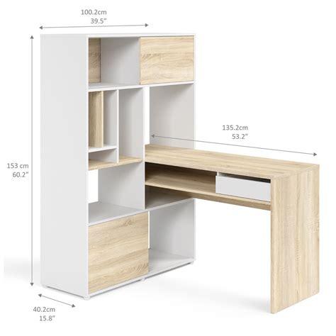 scrivania e libreria scrivania con libreria matys in bianco opaco e rovere